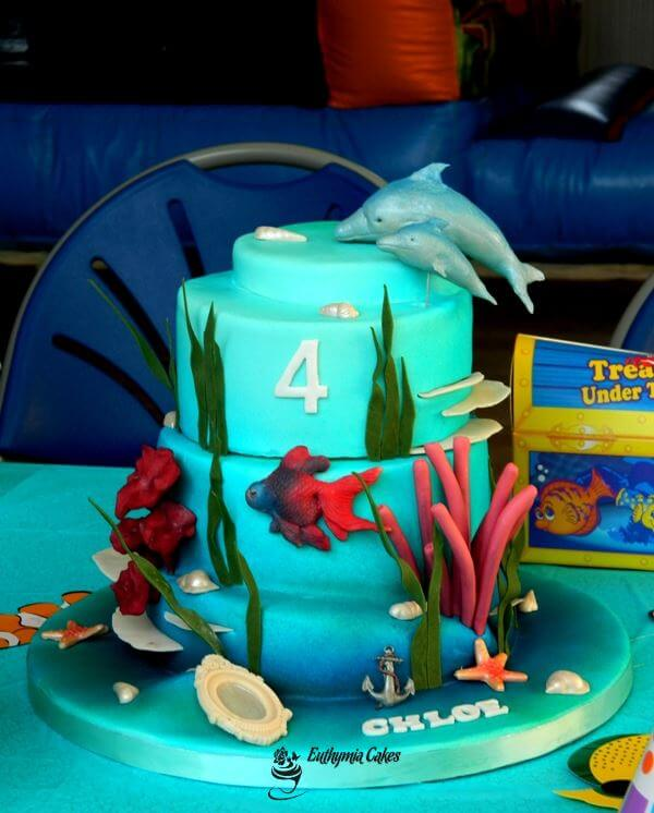 Personalised 4th birthday cake Under the sea aquatic scene themed cake with dolphins