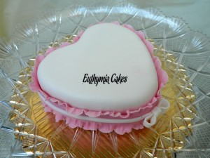 Bespoke Wedding Cakes romantic heart wedding valentine's day cake white pink