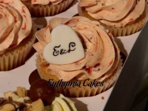 Bespoke Wedding Cupcakes tower heart topper initials