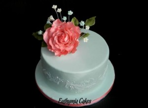 Bespoke Wedding Cakes romantic small wedding cake with rose stencil royal icing wedding