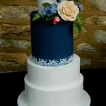 Recognition Bespoke Wedding Cakes unique award winning wedding cakes romantic and elegant wedding cae with sugar florals viburnum rose rosemary agapanthus navy royal blue white royal icing lace