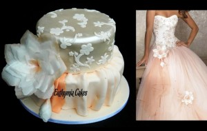 Bespoke Wedding Cakes customised romantic peach wedding cake with shimmer lace wafer fantasy flower