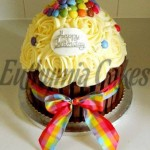 Rainbow giant cupcake sponge with smarties lentilky