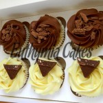 vanilla and chocolate cupcakes flakes toblerone