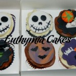 halloween cupcakes pumpkin chocolate vanilla bones grave black purple