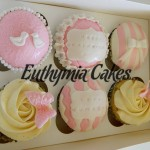 white pink anniversary cupcakes butterflies love birds stripes