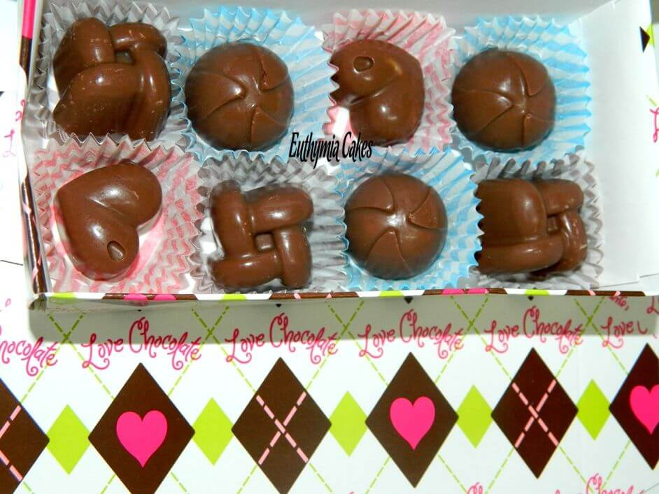 Cake toppers Chocolate bonbons with different fillings topper