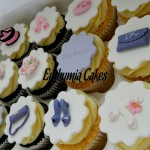 30th birthday chocolate vanilla cupcakes butter cream hand bags shoes toppers pink purple violet