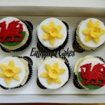 welsh dragon daffodils red yellow chocolate cupcakes vanilla butter cream
