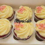 red velvet cupcakes mascarpone almond pink strawberry chocolate