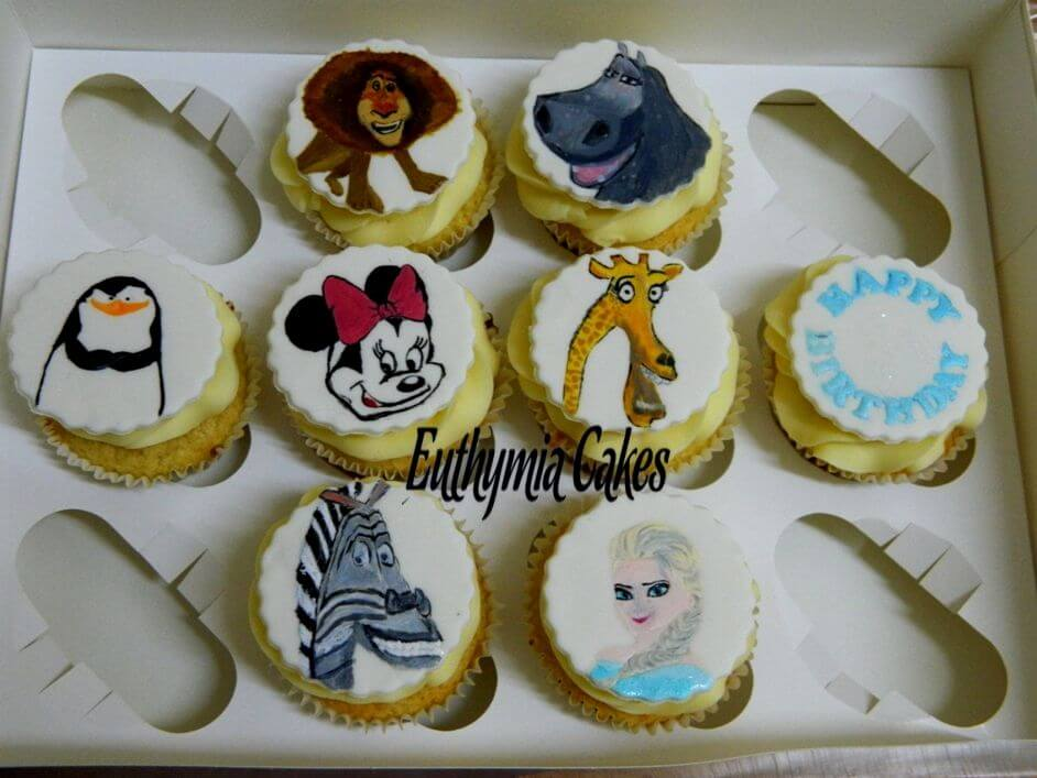 Cake toppers Handpainted cupcake toppers madagascar minnie frozen elsa