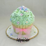green giant cupcake dots belgian white chocolate shell blue pink gold butter cream roses