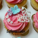 vanilla cupcakes cream cheese pink lace butterfly flowers fondant