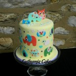 Bespoke Designer Celebration Cakes Baby shower cake with edible images and toppers