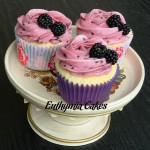 vanilla cupcakes blackberry butter cream violet purple