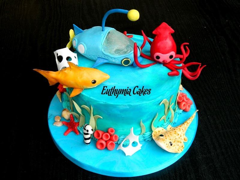 Cake toppers Bespoke Designer Celebration Cakes Under the sea cake with edible cake toppers lemon shark octonauts all butter cream