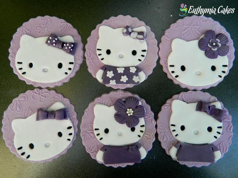 Cake toppers purple hello kitty cupcake toppers