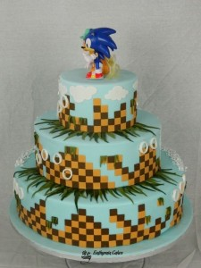 Bespoke Wedding Cakes customde designed Vintage and Sonic the Hedgehog wedding cake