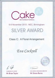 Recognition Awards, Press gallery Cake International Birmingham 2015 Class C: A Floral Arrangement Silver Award Eva Cockrell Unique Wedding Cakes