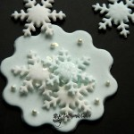 Cake toppers Winter christmas frozen theme cupcake toppers snowflakes pearls sparkle