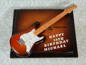 Recognition Bespoke Designer Celebration Cakes Guitar Chocolate Cake airbrushed 16th birthday