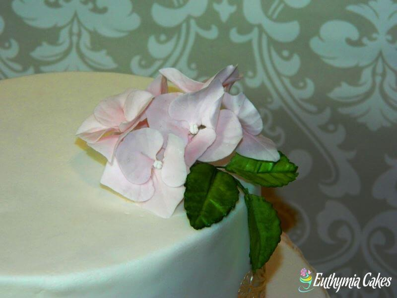 Cake toppers Gum paste Hydrangeas in pink tones with rose leaves