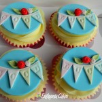 Cake toppers Good Luck cupcake toppers with bunting and roses