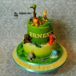 Bespoke Designer Celebration Cakes Chocolate and vanilla cakes with butter cream with hand made jungle cake toppers