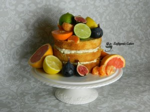 Bespoke Wedding Cakes rustic Naked wedding cake with Orange, Clementine, Lime, Lemon, Grapefruit and figs