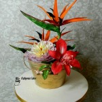 Cake toppers Sugar Flower arrangement with Bowl of Beauty peony, Bird of Paradise and Red Amaryllis