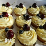 personalised wedding cupcakes with fruit and sugar flowers roses blueberries rspberries cherries