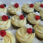 personalised wedding cupcakes with fruit and sugar flowers roses