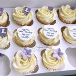 Hen Party cupcakes with cute little bows and hand made toppers. Dawn's Hen Party May 2016