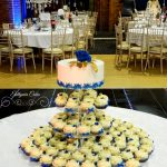 Bespoke Wedding Cakes Unique Indian wedding cupcake tower in Royal Blue and Gold