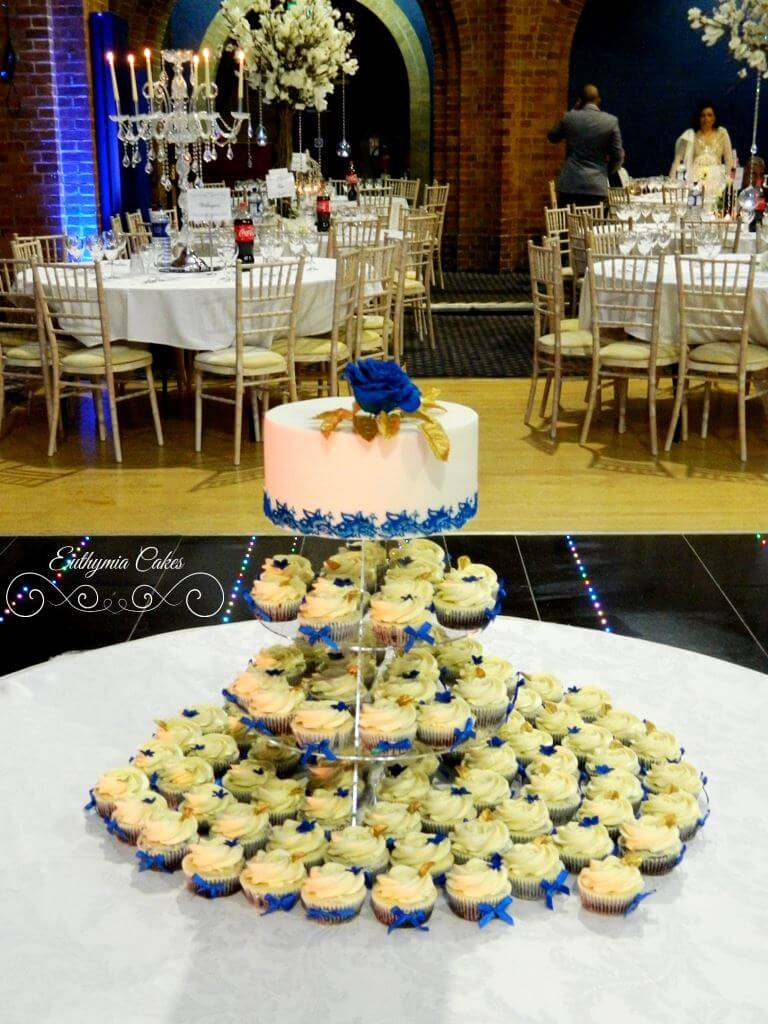 Indian wedding cake in Royal Blue and Gold - Euthymia Cakes