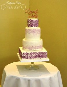 Bespoke Wedding Cakes 4 tier custom designed wedding cake in white and purple