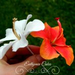 Cake toppers White and gold Hibiscus hand made cake topper