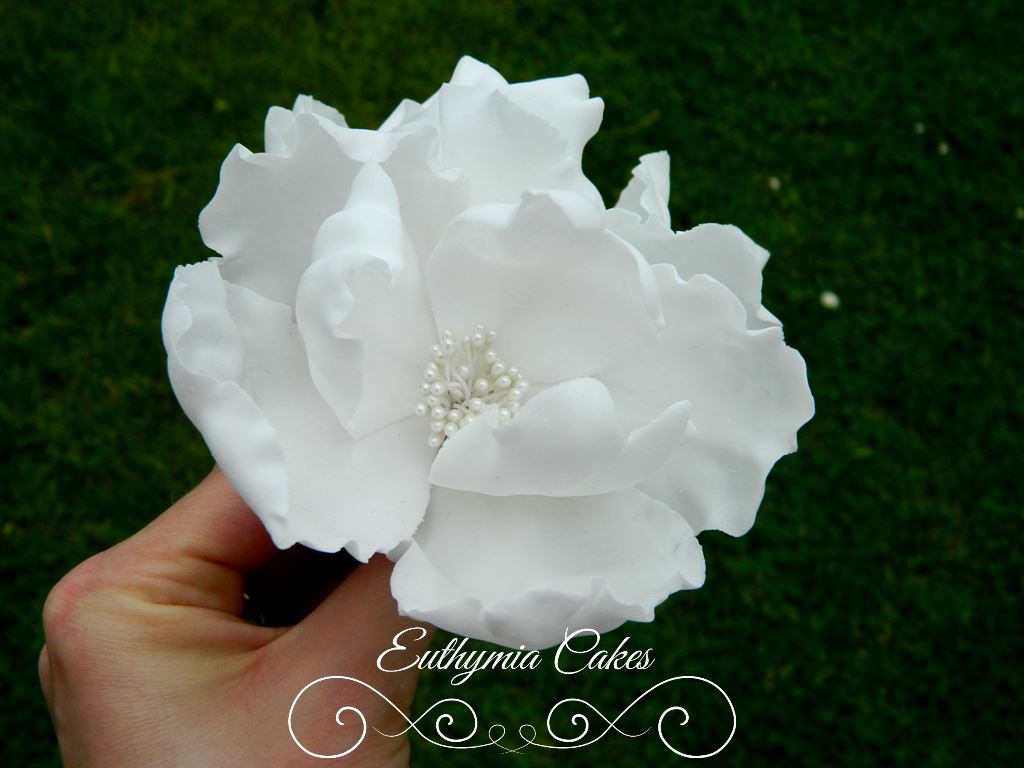 Cake toppers Unique Fantasy White Peony handmade sugar flower topper for wedding cakes
