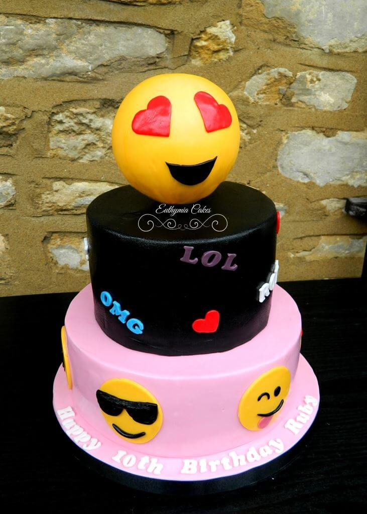 Bespoke Designer Celebration Cakes girly three tier emoji cake