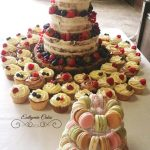 Bespoke Wedding Cakes with matching cupcakes and french macaron mini tower