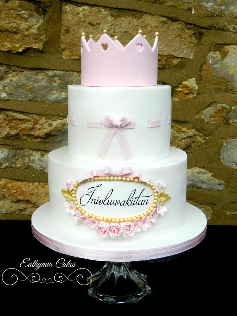 Superb 1St Birthday Princess Cake Bespoke Celebration Cakes Euthymia Personalised Birthday Cards Veneteletsinfo