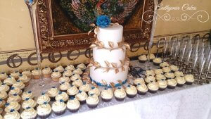Royal Blue and Gold wedding cake edible cake toppers cake decorating edible lace cupcakes stunning gorgeous exquisite Euthymia Cakes Hanslope, Milton Keynes London