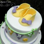 Baby shower cake in pastel colours baby shoes baby booties edible cake toppers