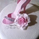 Cake topper Sugar heel with sugar flower rose