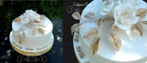 50th gold anniversary wedding cake with sugar roses Euthymia Cakes Buckinghamshire