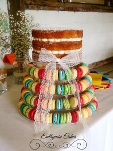 Frensh macaron macaroons tower with naked wedding cake