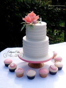 Chicheley Hall and Supplier Wedding Showcase 22nd April 2018 Engagement cake white and peach salmon colour sugar flowers wedding cupcakes