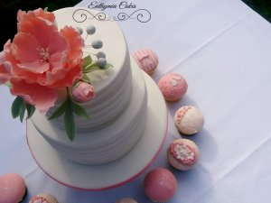 Engagement cake white and peach salmon colour cupcakes sugar flowers stripes love birds