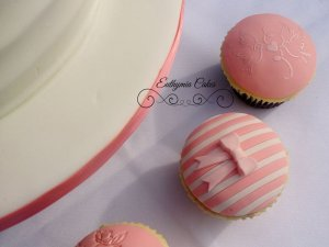 Engagement cake white and peach salmon colour wedding cupcakes stripes milton keynes northampton