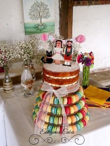 Furtho Manor naked wedding cake french macaron tower